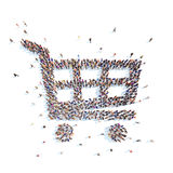People in the form of shopping baskets. Stock Photo