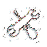 People  form  tools crowd. A group of people in the shape of tools isolated cartoon on a white background Stock Photo