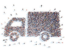 People in the form of a truck. Royalty Free Stock Photos