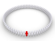 People form a very big circle and one is different Stock Photography
