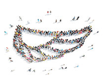 People in the form of a wing. A group of people in the form of a wing, a flash mob Royalty Free Stock Photo