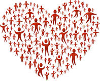 People forming a big heart Stock Photography