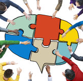 People Forming a Jigsaw Puzzle Speech Bubble Royalty Free Stock Images