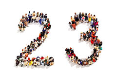 People forming the shape as a 3d number two (2) and three (3) symbol on a white background. Stock Images