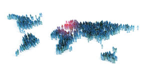People forming a world map vector illustration
