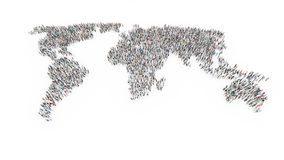 People forming a world map stock illustration