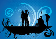 People in free time. An abstract illustration of people enjoying free time, with retro black, blue and cyan background Stock Photos