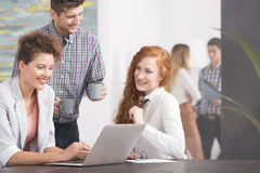 People and friendly office. Happy young people working in a friendly atmosphere in the office Royalty Free Stock Photography