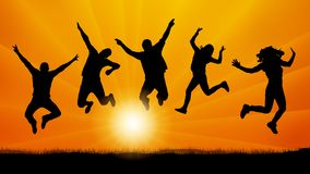 People friends jumping at sunset, silhouette vector. People friends jumping at sunset, silhouette vector Stock Images