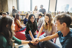 People Friendship Brainstorming Hand Clasped Teamwork Concept Stock Image
