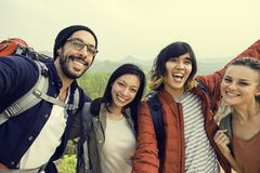 People Friendship Hangout Traveling Destination Camping Concept Stock Images