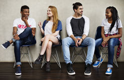 People Friendship Sitting Talking Youth Culture Concept. People Friendship Sitting Talking Youth Culture Stock Photo