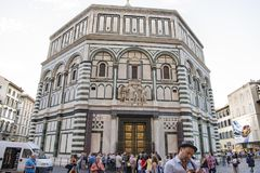 People in front of Baptistery of Cathedral Florence Stock Image