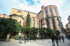 People in front of Basilica dei Frari Stock Image