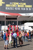 People in front of the Cannes Film Festival theatre Royalty Free Stock Images