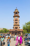People in front of the Clocktower at the Sadar Market in Jodhpur, Rajasthan, India Royalty Free Stock Photography