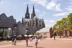 People in front of the Cologne Cathedral stock photography