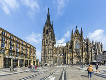 People in front of the Cologne Cathedral Royalty Free Stock Photo