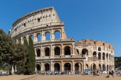 People in front of  Colosseum in city of Rome, Italy. ROME, ITALY - JUNE 23, 2017: People in front of  Colosseum in city of Rome, Italy Stock Photos