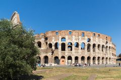 People in front of  Colosseum in city of Rome, Italy. ROME, ITALY - JUNE 23, 2017: People in front of  Colosseum in city of Rome, Italy Stock Images