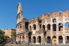 People in front of  Colosseum in city of Rome, Italy. ROME, ITALY - JUNE 23, 2017: People in front of  Colosseum in city of Rome, Italy Royalty Free Stock Image
