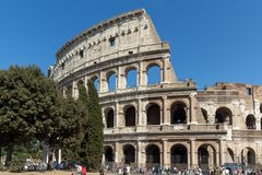 People in front of  Colosseum in city of Rome, Italy. ROME, ITALY - JUNE 23, 2017: People in front of  Colosseum in city of Rome, Italy Stock Image