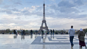 People in front of eiffel tower Stock Photo