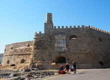 People In Front Of Koules Fortress Heraklion Greece Stock Image