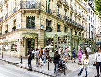 People in front of LADUREE shop at champs elysees Royalty Free Stock Images