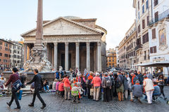 People in front of Pantheon edifice in Rome Stock Photography