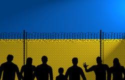 Ukrainian Flag Behind Secure Fence stock image