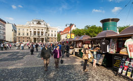 People in front of Slovak National Theatre, Bratislava Stock Photography