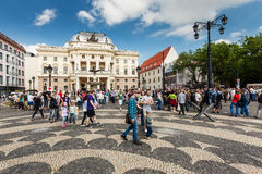 People in front of Slovak National Theatre, Bratislava Royalty Free Stock Photography