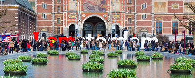 People in front of writing, I amsterdam, Museumplein, Rijksmuseum, Holland Royalty Free Stock Images