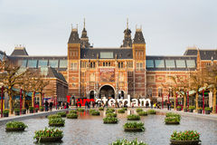 People in front of writing, I amsterdam, Museumplein, Rijksmuseum, Holland Stock Photography