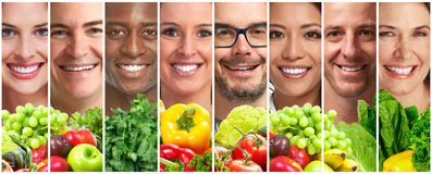 People with fruits and vegetables stock image