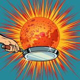 People with a frying pan fry the planet Mars. Pop art retro vector illustration comic cartoon kitsch drawing Stock Photos