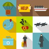 People fugitives icons set, flat style Stock Image
