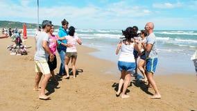 People fun dancing beach stock footage