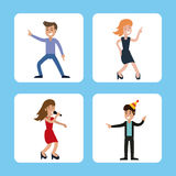 People funny party karaoke dance Stock Images
