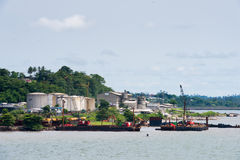 People in GABON. LIBREVILLE, GABON - MAR 6, 2013: Port of Libreville, Gabon. Port of Libreville is a trade center for a timber region Royalty Free Stock Photos
