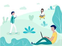 People with gadgets in the city park. Social Networking Concept. vector illustration