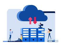 People with gadgets, laptop, smartphone, keep file in cloud storage service. Concept of technology cloud computing service. Cartoon Vector Illustration Royalty Free Stock Images