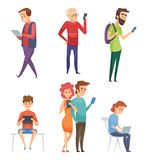 People with gadgets. Male female kids student lifestyle smartphones tablets laptop mobile phone chatting smart pad. Vector characters. Illustration of female royalty free illustration