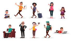 People and gadgets. Set of children, youth and adults with their Royalty Free Stock Image
