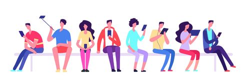 People with gadgets sitting on bench. Men and women with cell phone meeting outdoor. Cartoon student vector characters. Illustration of man and woman with stock illustration