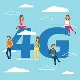 People with gadgets sitting on the big 4G symbol. Addicted to networks, people of young men and women using high speed wireless. Connection 4G via mobile Royalty Free Stock Images