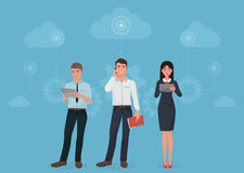 People with gadgets using social business connection communications in clouds concept. Royalty Free Stock Photos