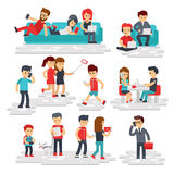 People with gadgets vector flat style isolated on white background. Men and women use phones, smartphones, tablets Stock Photo