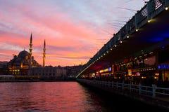Galata Bridge and Eminonu New Mosque, Istanbul, Turkey Royalty Free Stock Photography